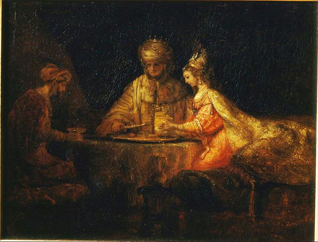 Ахашверош и Аман на праздник Эстер. Рембрандт. 1660
