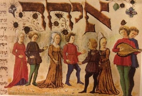 """Танцы до XIII века проходили в «еврейских танцевальных"""" или """"свадебных"""" домах; позднее танцы мужчин с женщинами были запрещены"""